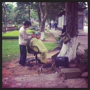 Hanoi roadside hairdresser!